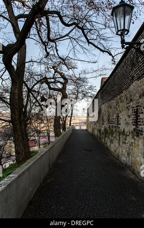road running along the ramparts in Prague - Stock Photo