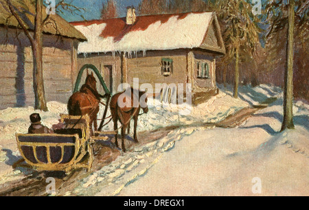 Returning home by horse-drawn sleigh, Russia - Stock Photo