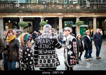 Pearly Kings and Queens collecting for charity in Covent Garden. - Stock Photo