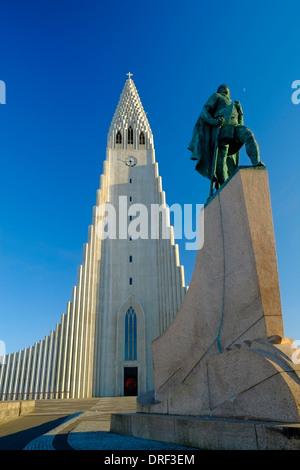 Iceland Reykjavik statue of Leifur Eriksson and Hallgrimskirkja Church