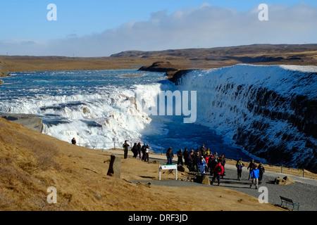 Gullfoss waterfall near Reykjavik, Iceland - Stock Photo