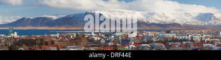 Panoramic view over Reykjavic, Iceland, Polar region - Stock Photo