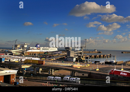A general view of the Eastern Docks, Port of Dover Ferry Terminal with a ferry in port and lorries disembarking - Stock Photo