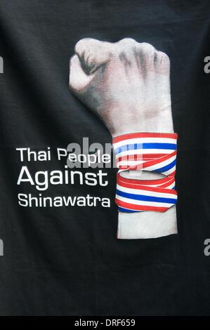 Bangkok, Thailand. Jan. 24th, 2014. 'Thai people against Shinawatra' T-shirt design. On day 12 of 'Shutdown Bangkok', - Stock Photo