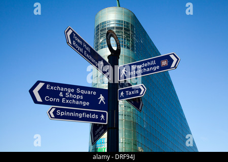 Street sign with different destinations. Locations & destinations near the Urbis Exhibition Football Museum venue - Stock Photo