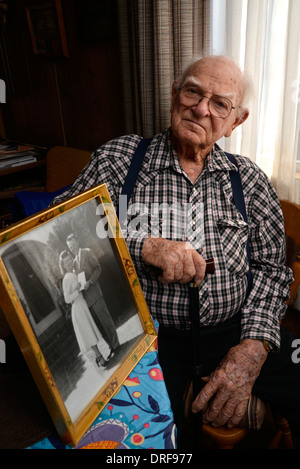 A 93-year-old man at his home. - Stock Photo
