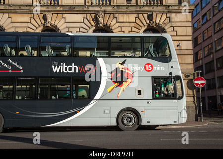 Volvo Wright Gemini 'Witch Way' buses. Chorlton Street Bus Station route X43, between Manchester and Nelson, England, - Stock Photo