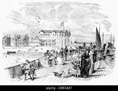 Howett's Royal Hotel Lowestoft from the Pier circa 1854 - Stock Photo