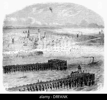 Elevated View of Ostend harbour Belgium circa 1854 - Stock Photo