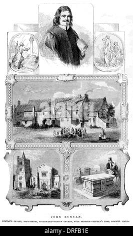 John Bunyan. Chapel,Zoar Street, Southwark - Elstow Church, near Bedford-- Tomb, Bunhill Fields circa 1880 - Stock Photo