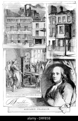 Benjamin Franklin. The printing office Messrs, Cox Brothers, Great Queen Street, Lincoln's Inn Fields. The house - Stock Photo