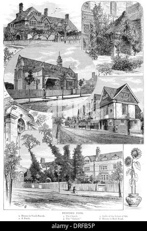 Bedford Park. South Parade. Porch. Church. Tabard. Gable of Art School. Bath Road. Circa 1880 - Stock Photo