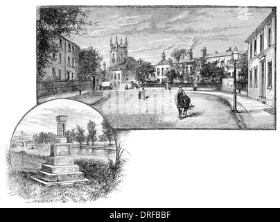 Staines-upon-Thames or Staines, Church Street. City Boundary Stone. - Stock Photo