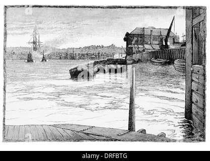 Millwall, from the river Thames Isle of Dogs, in the London Borough of Tower Hamlets circa 1880 - Stock Photo