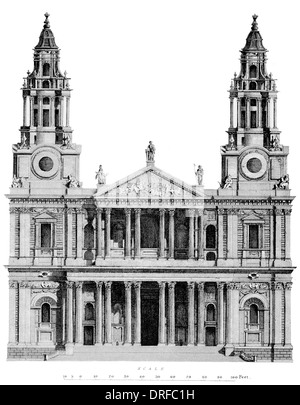 St Paul's Cathedral, London, is a Church of England cathedral, the seat of the Bishop of London. West front elevation - Stock Photo