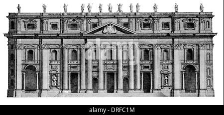 St. Peter's Basilica  Sancti Petri di San Pietro  Vaticano is a Late Renaissance church . East front elevation - Stock Photo