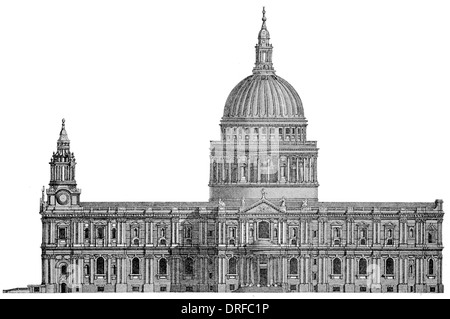 St Paul's Cathedral, London.. West front elevation - Stock Photo