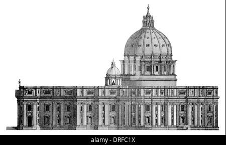 Saint Peters Basilica . North front elevation Vatican City - Stock Photo