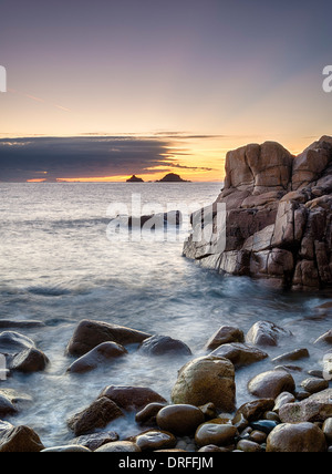 The beach at Cot Valley near St Just in Cornwall also known as Porth Nanven cove - Stock Photo