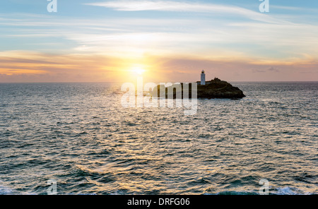 The lighthouse on Godrevy Island near St Ives in Cornwall - Stock Photo