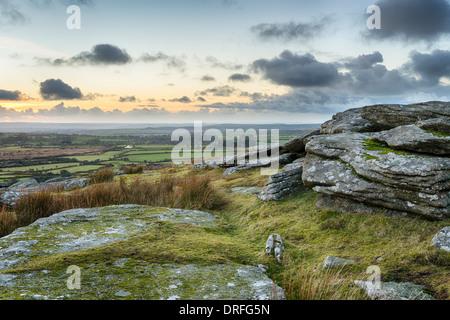 Dusk at Alex Tor on Bodmin Moor near St Breward in Cornwall - Stock Photo