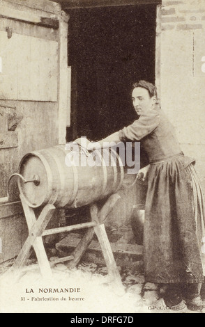Churning Butter - Normandy, France - Stock Photo