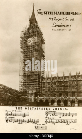 Big Ben with scaffolding, Palace of Westminster, London - Stock Photo