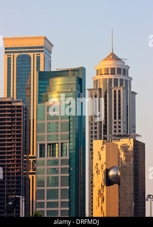 High Rise Buildings in the new City Center, West Bay, Doha, Qatar - Stock Photo