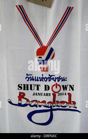 Bangkok, Thailand. Jan. 24th, 2014. 'Shutdown Bangkok' T-shirt design. On day 12 of 'Shutdown Bangkok', the Thais - Stock Photo