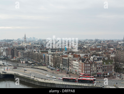 High angle view on the center of Amsterdam - Stock Photo