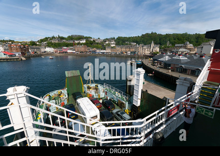 Oban from on board the Caledonian MacBrayne's ferry, the 'Lord of the Isles', in Oban Bay, Highland region, Scotland, - Stock Photo