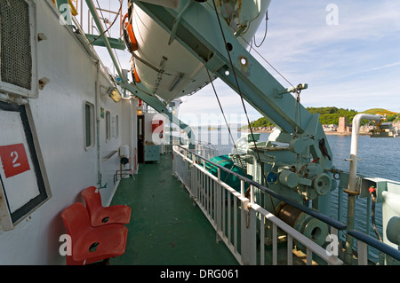 On board the Caledonian MacBrayne's ferry, the 'Lord of the Isles', as it departs Oban, Highland region, Scotland, - Stock Photo