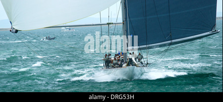2012 'J Class' Regatta Ranger - Spinnaker repairs in mid race on J Class yacht - Stock Photo