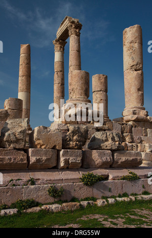 Ruins of the Citadel. Jebel al-Qalaa, Qala hill, columns of the roman Hercules temple in Amman Jordan - Stock Photo