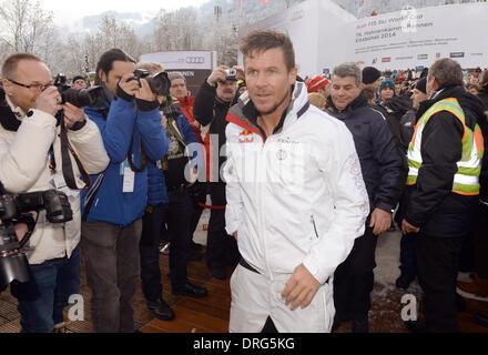 Kitzbuehel, Austria. 25th Jan, 2014. Austrian skydiver, daredevil and BASE jumper Felix Baumgartner arrives to the - Stock Photo