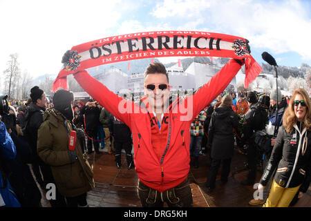 Kitzbuehel, Austria. 25th Jan, 2014. Folk musician Andreas Gabalier poses with an 'Austria scarf' during the annual - Stock Photo