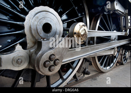 The Connecting Rods and the Driving Wheels ofSteam Locomotive Number 6229 'Duchess of Hamilton' outside the National - Stock Photo