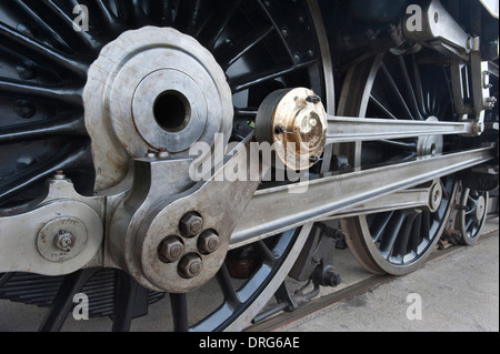 The Connecting Rods and the Driving Wheels of London, Midland Scottish Railways (LMS) streamlined 'Princess Coronation' - Stock Photo