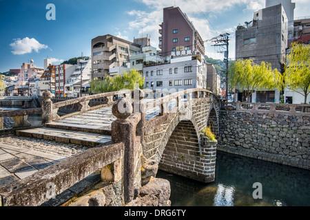 Nagasaki, Japan at historic Megane 'Spectacles Bridge' over the Nakashima River. - Stock Photo