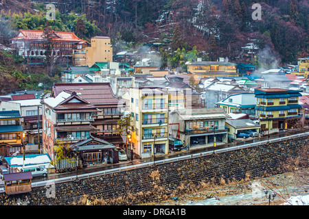 The small town of Shibu Onsen in Nagano Prefecture. The town is famed for the numerous historic bath houses located - Stock Photo