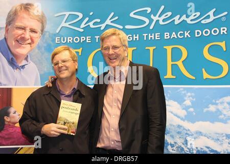 Santa Clara, California USA, 25 January, 2014 – PBS television travel show host Rick Steves meets his look-alike - Stock Photo