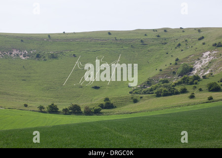 Long Man of Wilmington. Sussex Downs. Area of Outstanding Natural Beauty. Windover Hill. England. UK. GB. - Stock Photo