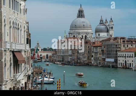 Santa Maria della Salute and Grand Canal viewed from the Ponte dell' Accademia, Venice Italy - Stock Photo
