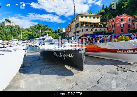 Low Angle View of Boats in a Harbor, Portofino, Liguria, Italy - Stock Photo