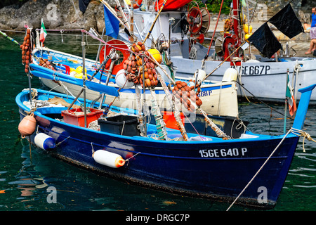 Close Up View of Ligurian Fishing Boats Moored in a Harbor, Portofino, Liguria, Italy - Stock Photo