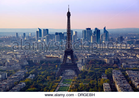 view from montparnasse over the the city with the eiffel tower and la defense - Stock Photo