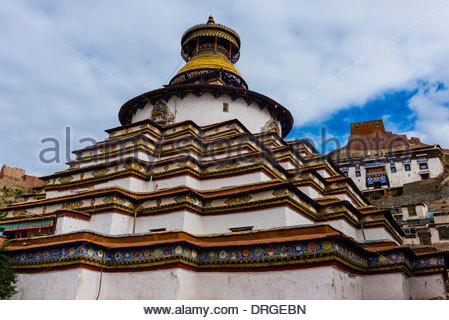 Kumbum Stupa (the largest stupa in Tibet), Palcho Monastery, Gyangze, Tibet (Xizang), China. - Stock Photo
