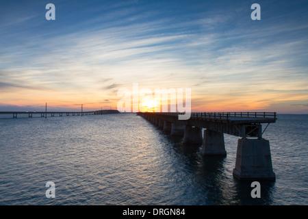 Sunset at the Seven Mile Bridge, Florida Keys, USA - Stock Photo