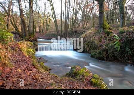 A Man-made Waterfall In Winter, The Forest Of Dean, Gloucestershire, England, Great Britain, Uk - Stock Photo