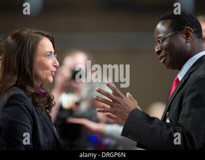 Berlin, Germany. 26th Jan, 2014. The designated SPD general secretary Yasmin Fahimi and member of German parliament - Stock Photo